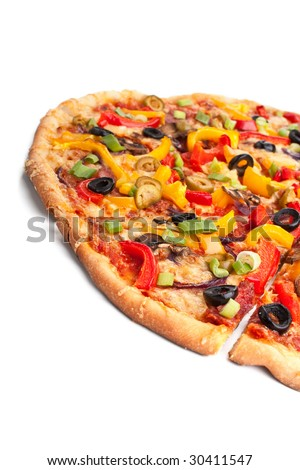 sliced colorful vegetable, pepperoni and mushroom pizza