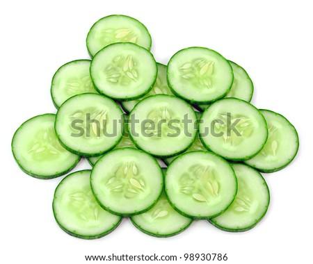 sliced cucumber - stock photo