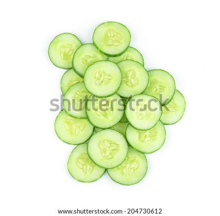 Sliced cucumber background. - stock photo