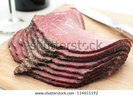 Sliced deli beef snack horizontal - stock photo