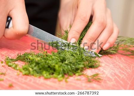 sliced dill knife - stock photo