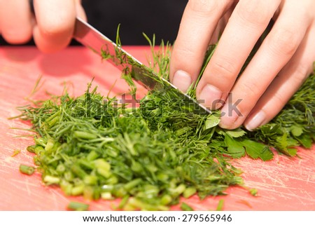 sliced dill knife - stock photo