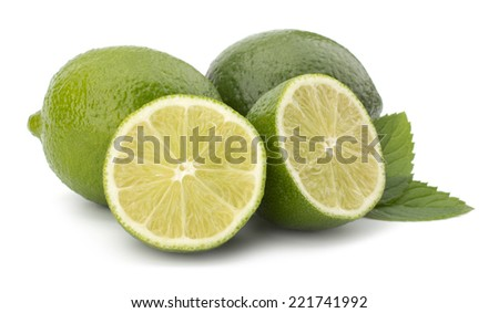 Sliced Fresh lime fruit with mint leaves isolated on white background - stock photo