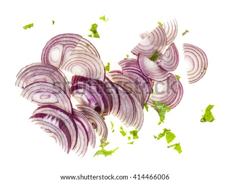 Sliced fresh red onions on white background - stock photo