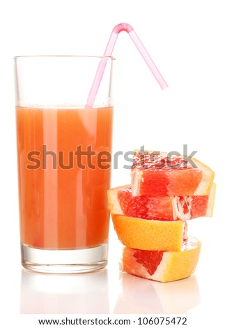 Sliced grapefruit and juice isolated on white
