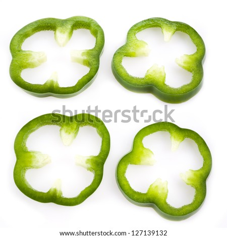 Sliced green pepper isolated on white, set - stock photo