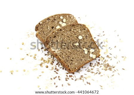sliced homemade bread on a white background.