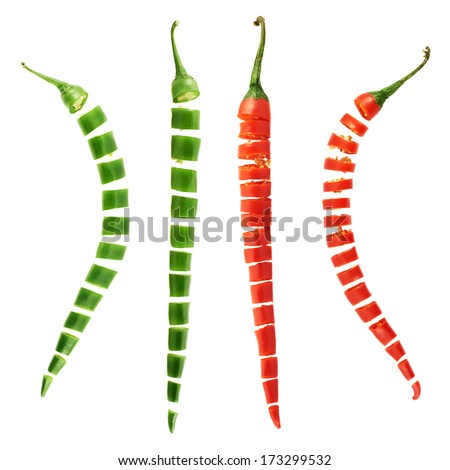 Sliced in pieces red and green chili peppers isolated over white background, set of four foreshortenings - stock photo