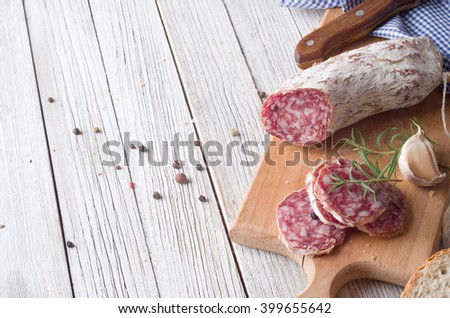 Sliced Italian Salami - stock photo