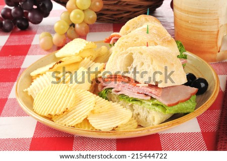 Sliced Italian submarine sandwich on ciabatta bread