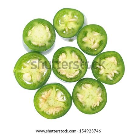 sliced Jalapeno Peppers isolated on White Background  - stock photo