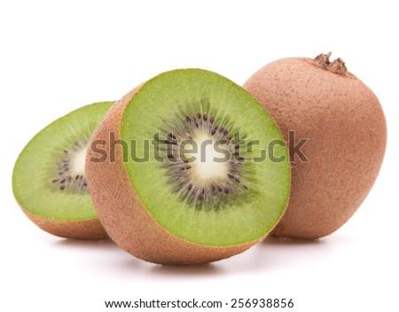 Sliced kiwi fruit half isolated on white background cutout - stock photo
