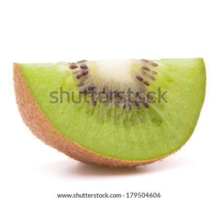 Sliced kiwi fruit segment  isolated on white background cutout
