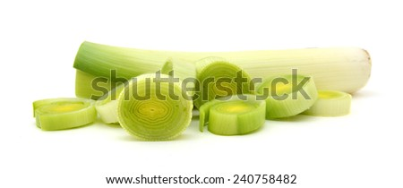 Sliced Leeks on white background