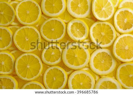 Sliced lemon background - stock photo