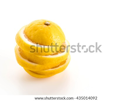 sliced lemon on white background - stock photo