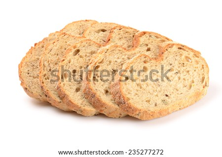 sliced loaf of bread isolated on white - stock photo