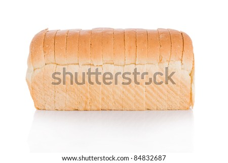Sliced loaf of bread isolated on white background - stock photo