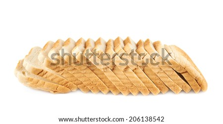 Sliced loaf of the toast bread, isolated over the white background