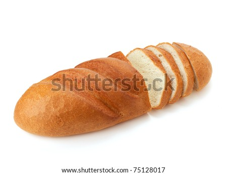 Sliced long loaf bread. Isolated on white - stock photo