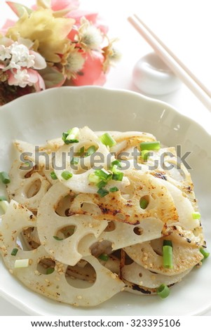 sliced lotus root and sesame seed stir fried for asian food image - stock photo
