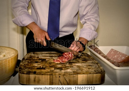 sliced meats, Parmigiano Reggiano cheese Italian cuisine - stock photo