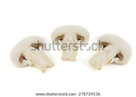 sliced mushrooms isolated on white - stock photo