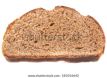sliced of brown bread isolated on white
