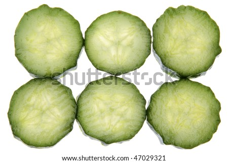 Sliced of fresh cucumber isolated on white with a clipping path.