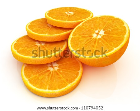 sliced orange and half oranges - stock photo