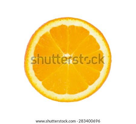 Sliced orange fruit segments isolated on white background. - stock photo