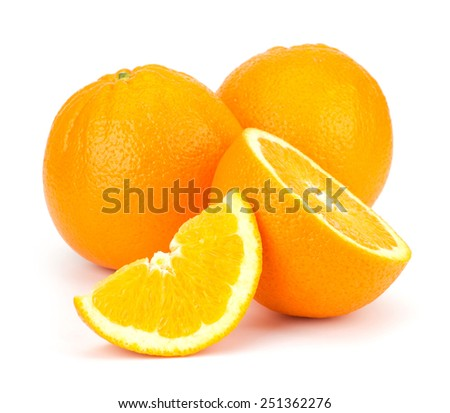 Sliced Orange fruit sliced isolated on white background - stock photo