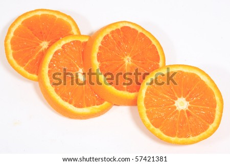 Sliced orange look very fresh on white background