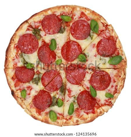 Sliced Pepperoni Pizza, isolated on white background - stock photo