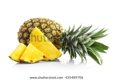 Sliced pineapple, isolated on white - stock photo