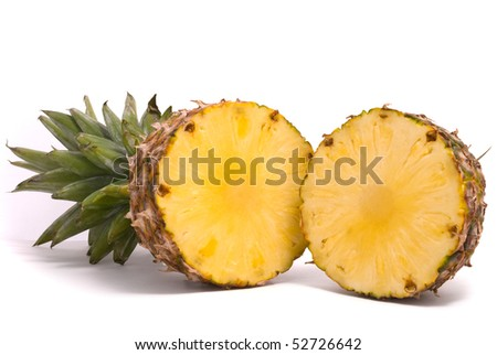 Sliced Pineapple on a white background - stock photo