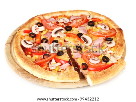 Sliced pizza close-up isolated on white - stock photo