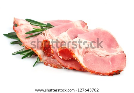 Sliced pork bacon with rosemary  isolated on white background - stock photo