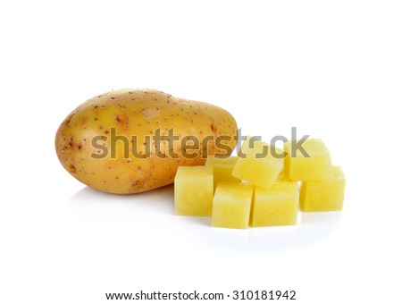 Sliced potatoes on white background - stock photo