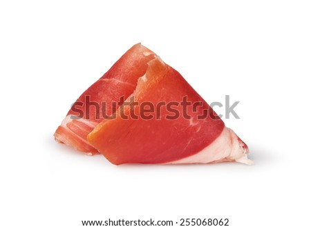 sliced prosciutto on a white background - stock photo