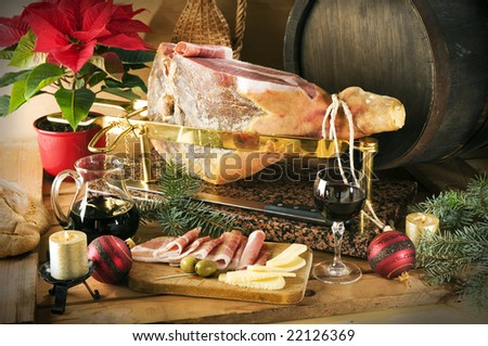 sliced prosciutto with red wine and olives close up shoot - stock photo