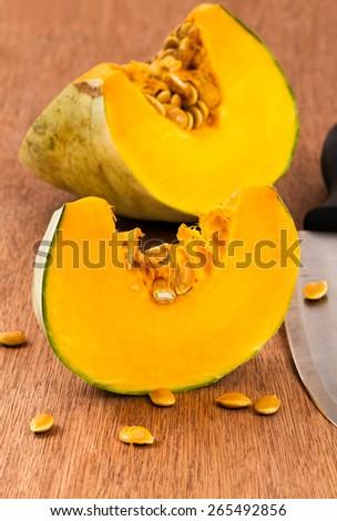 sliced pumpkin  - stock photo