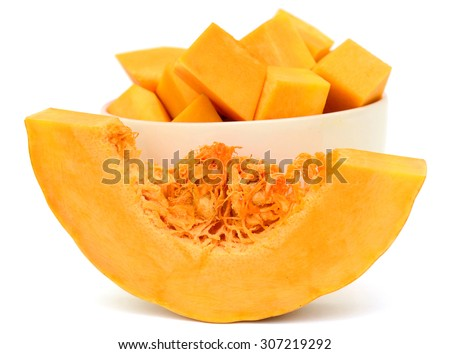 Sliced pumpkin isolated on white background - stock photo