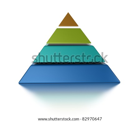 sliced pyramid, 4 levels isolated over a white background - stock photo