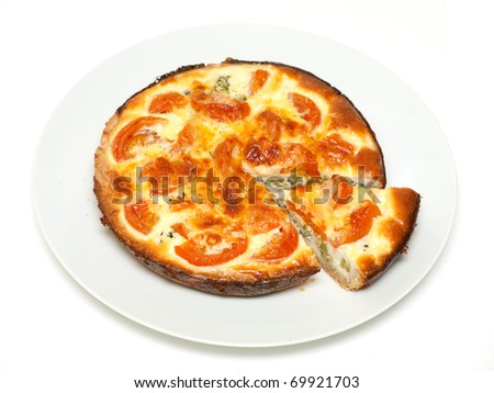 Sliced quiche with broccoli and tomatoes on a plate - stock photo