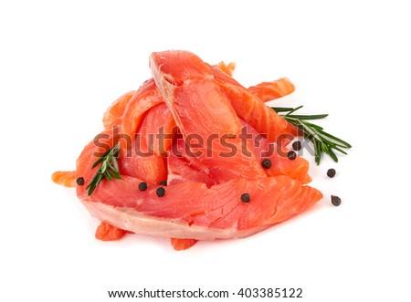 Sliced raw salmon isolated on white background - stock photo