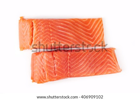 Sliced raw salmon isolated on white background - stock photo