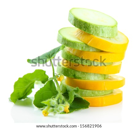 Sliced raw zucchini, isolated on white - stock photo