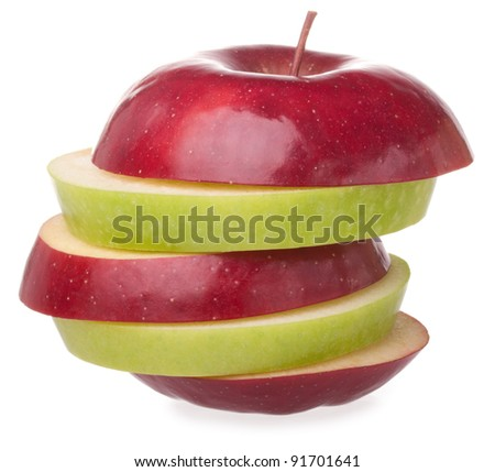 sliced red and green apple isolated on white - stock photo