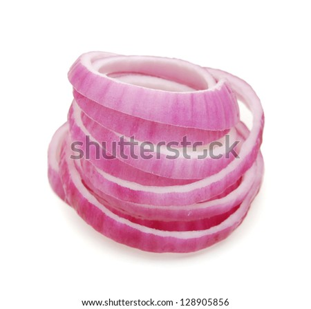 Sliced Red Onion on white